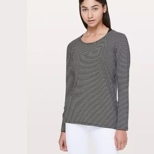 Lululemon Emerald Black White Stripe Shirt Pima